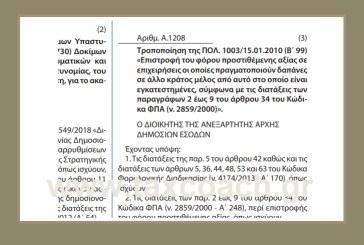Α. 1208 /20: Τροποποίηση της ΠΟΛ. 1003 /2010 – Επιστροφή του ΦΠΑ σε επιχειρήσεις οι οποίες πραγματοποιούν δαπάνες σε άλλο κράτος μέλος από αυτό στο οποίο είναι εγκατεστημένες…