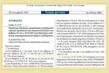 Α. 1219 /20: Παράταση δηλώσεων φορολογίας εισοδήματος νομικών προσώπων και νομικών οντοτήτων του άρθρου 45 του ν. 4172/2013 και δηλώσεων απόδοσης παρακρατούμενων φόρων εισοδήματος.