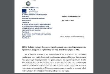 Ε. 2162: Έκδοση πράξεων διοικητικού προσδιορισμού φόρου εισοδήματος φυσικών προσώπων…