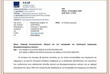 Ε. 2163: Παροχή διευκρινιστικών οδηγιών για την καταγραφή του εξοπλισμού παραγωγής βιομηχανοποιημένων καπνών.