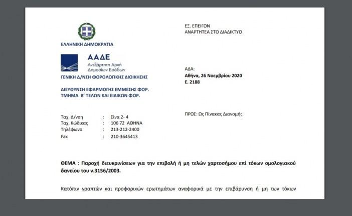Ε. 2188: Παροχή διευκρινίσεων για την επιβολή ή μη τελών χαρτοσήμου επί τόκων ομολογιακού δανείου του ν.3156/03.
