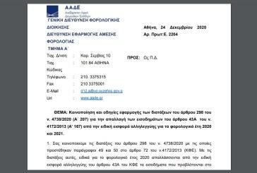 Ε. 2204: Κοινοποίηση και οδηγίες εφαρμογής των διατάξεων του άρθρου 298 του ν. 4738/20 περί απαλλαγής εισοδημάτων του άρθρου 43Α του ν. 4172/13 από την ειδική εισφορά αλληλεγγύης για τα φορολογικά έτη 2020 και 2021.