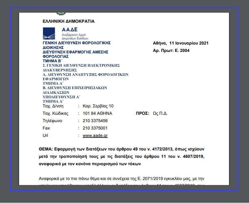 Ε. 2004: Αναφορικά με τον κανόνα περιορισμού των τόκων.