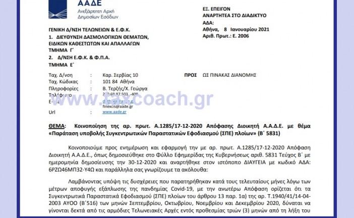 Ε. 2006 /21: Κοινοποίηση της Α.1285/17-12-2020 Απόφασης Διοικητή ΑΑΔΕ με θέμα – Παράταση υποβολής Συγκεντρωτικών Παραστατικών Εφοδιασμού (ΣΠΕ) πλοίων.