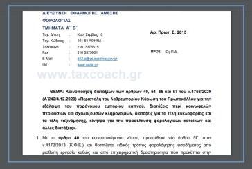 Ε. 2015: Κοινοποίηση διατάξεων του ν.4758/20, περί εξάλειψης του παράνομου εμπορίου καπνού, περί κοινωφελών περιουσιών και σχολαζουσών κληρονομιών, για τα τέλη κυκλοφορίας και τέλη ταξινόμησης, κίνητρα για την προσέλκυση φορολογικών κατοίκων…