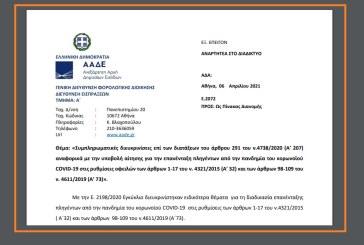 Ε. 2072: Συμπληρωματικές διευκρινίσεις επί των διατάξεων του άρθρου 291 του ν.4738/20 αναφορικά με την υποβολή αίτησης για την επανένταξη πληγέντων από την πανδημία του κορωνοϊού COVID-19 στις ρυθμίσεις οφειλών…