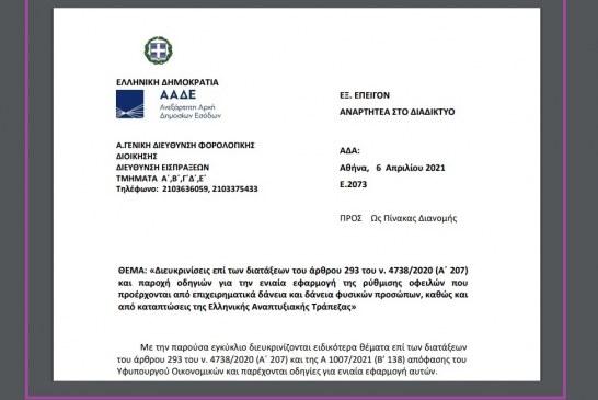 Ε. 2073: Διευκρινίσεις επί των διατάξεων του άρθρου 293 του ν. 4738/20 και παροχή οδηγιών για την ενιαία εφαρμογή της ρύθμισης οφειλών που προέρχονται από επιχειρηματικά δάνεια και δάνεια φυσικών προσώπων, καθώς και από καταπτώσεις της Ελληνικής Αναπτυξιακής Τράπεζας.