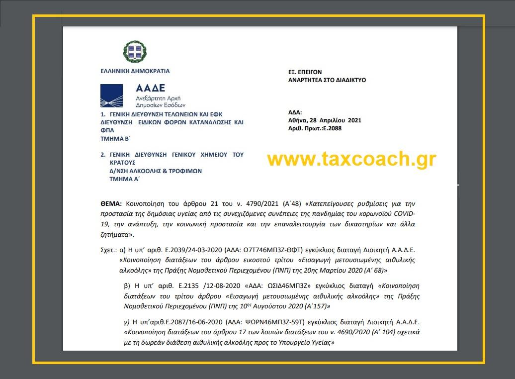 Ε. 2088: Κοιν. άρθρου 21 του ν. 4790/21 – Κατεπείγουσες ρυθμίσεις για την προστασία της δημόσιας υγείας από τις συνέπειες του κορωνοϊού, την ανάπτυξη, την κοινωνική προστασία και την επαναλειτουργία των δικαστηρίων και άλλα ζητήματα.