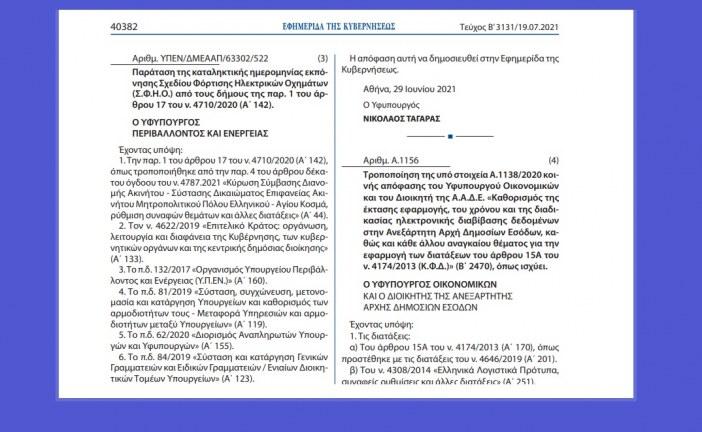 A. 1156: Τροποποίηση Απόφασης για την ηλεκτρονική διαβίβαση δεδομένων στην ΑΑΔΕ – myDATA