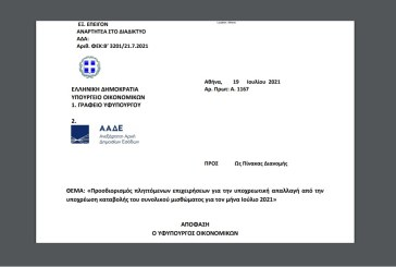 A. 1167 /21: Προσδιορισμός πληττόμενων επιχειρήσεων για την υποχρεωτική απαλλαγή από την υποχρέωση καταβολής του συνολικού μισθώματος για τον Ιούλιο 2021.